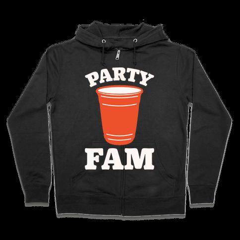Party Fam White Print Zip Hoodie