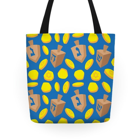 Dreidel and Hanukkah Gelt Pattern Tote