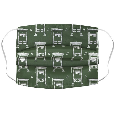 Guillotine Pattern Green Accordion Face Mask
