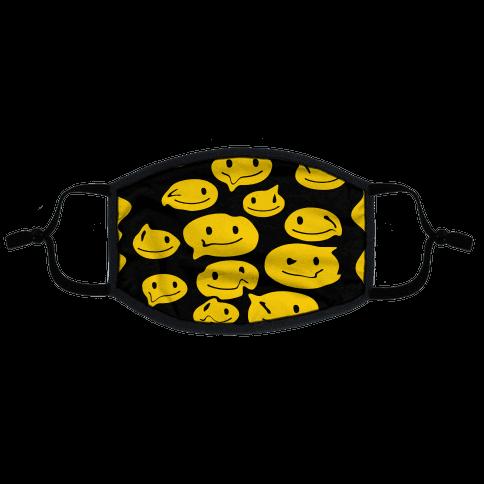 Melting Smiley Faces Flat Face Mask