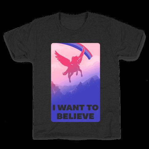 I Want To Believe Bisexual Unicorn Kids T-Shirt