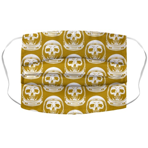 Skulls in Astronaut Pattern Mustard Yellow Accordion Face Mask