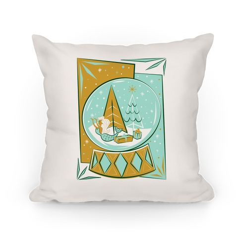 Mid-Century Modern Mermaid Holiday Snow Globe Pillow