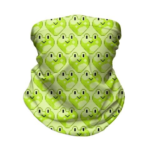 Pixel Frog Hearts Neck Gaiter