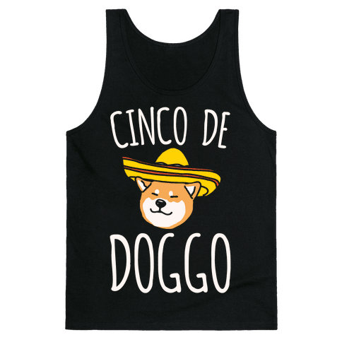 Cinco De Doggo White Print Tank Top