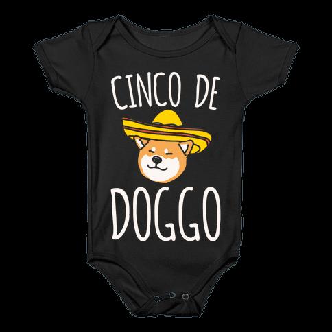 Cinco De Doggo White Print Baby Onesy