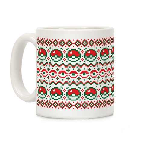 Pokéball Ugly Christmas Sweater Pattern Coffee Mug
