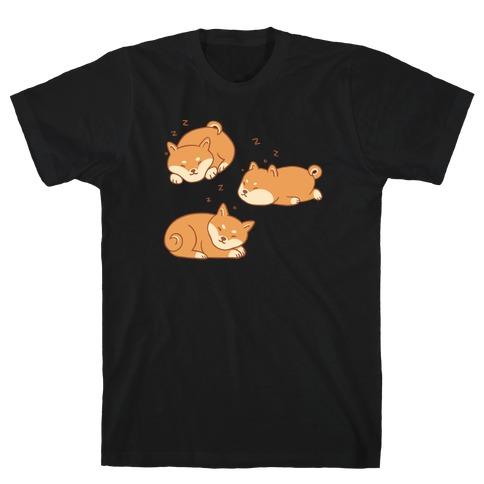 Sleepy Shibe Pattern T-Shirt