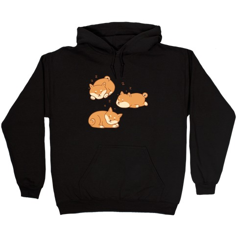 Sleepy Shibe Pattern Hooded Sweatshirt