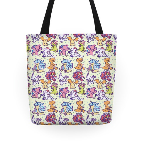 Digital Monsters Pattern Tote