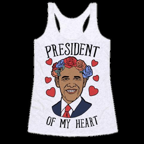 President Of My Heart Obama Racerback Tank Top