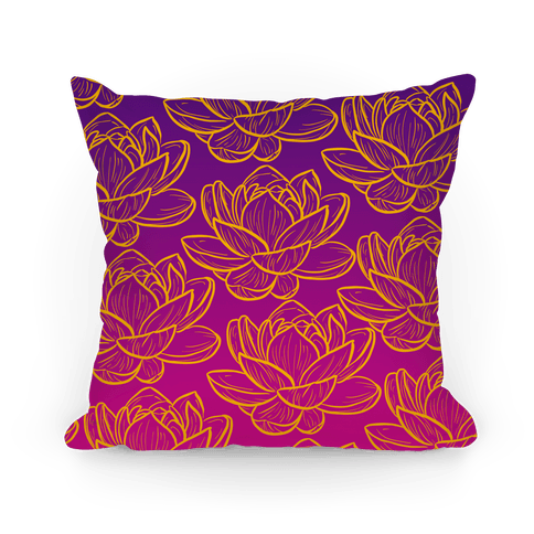 Purple and Gold Lotuses Pattern Pillow