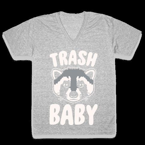 Trash Baby White Print V-Neck Tee Shirt