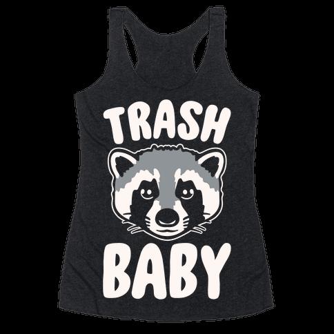 Trash Baby White Print Racerback Tank Top