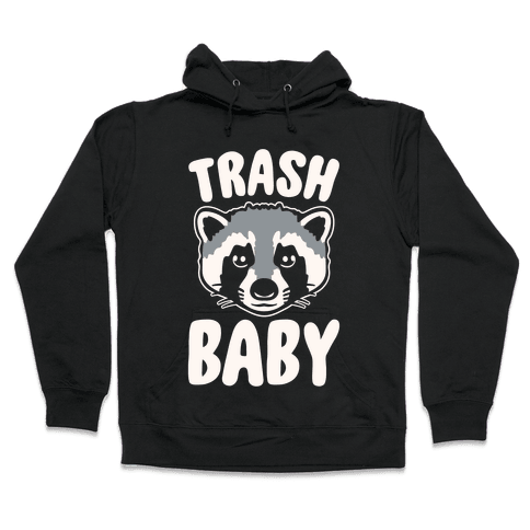 Trash Baby White Print Hooded Sweatshirt