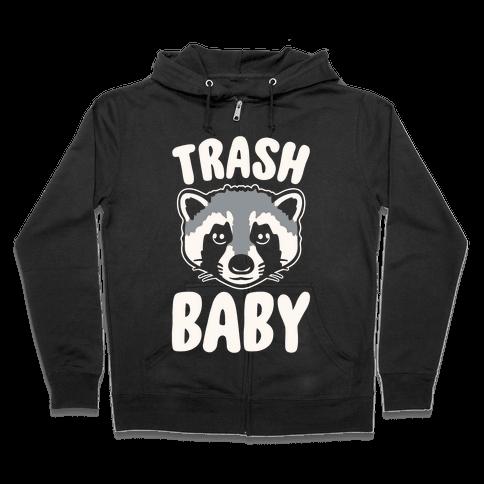 Trash Baby White Print Zip Hoodie