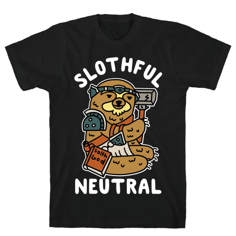 Slothful Neutral Sloth Cleric Mens T-Shirt