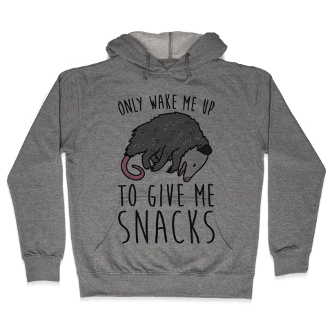 Only Wake Me Up To Give Me Snacks Opossum Hooded Sweatshirt