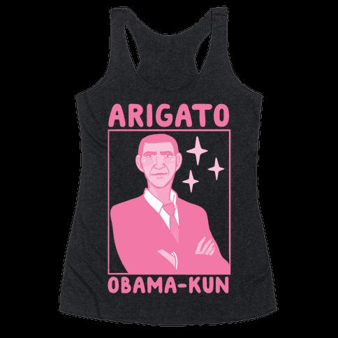 Arigato, Obama-kun Racerback Tank Top