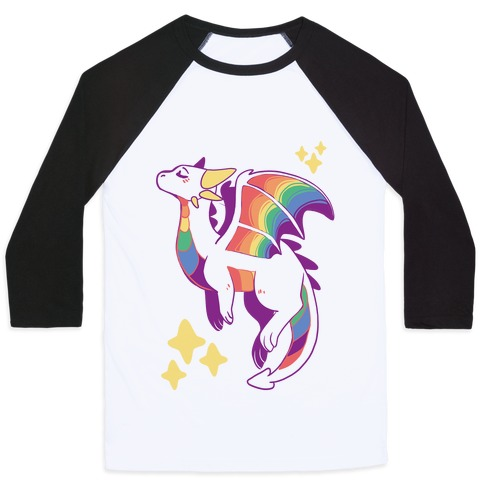 Gay Pride Dragon  Baseball Tee