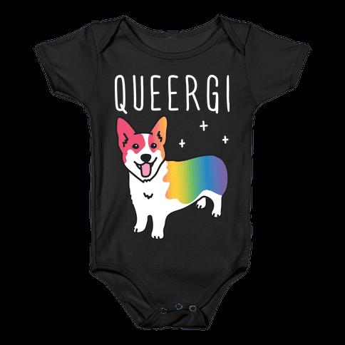 Queergi LGBTQ Corgi Baby Onesy
