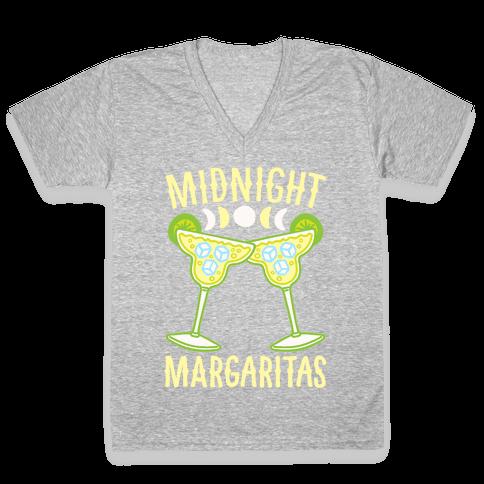 Midnight Margaritas White Print V-Neck Tee Shirt