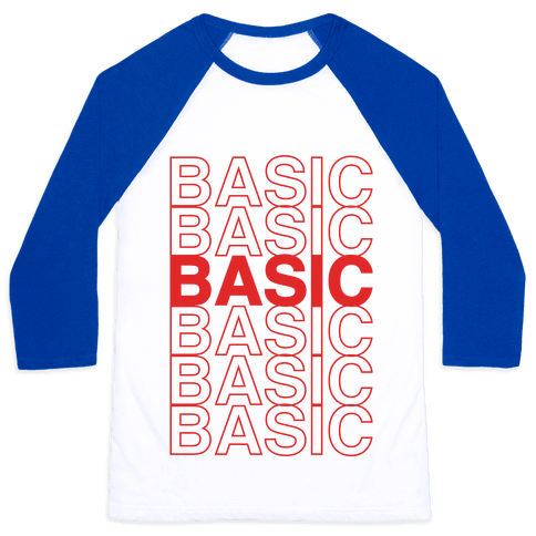 Basic Thank You Grocery Bag Parody Baseball Tee