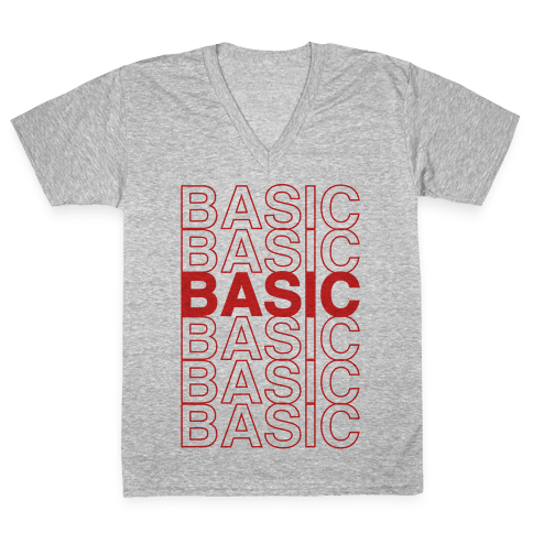 Basic Thank You Grocery Bag Parody V-Neck Tee Shirt