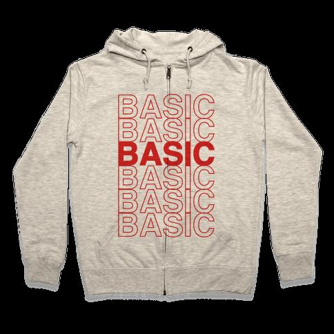 Basic Thank You Grocery Bag Parody Zip Hoodie