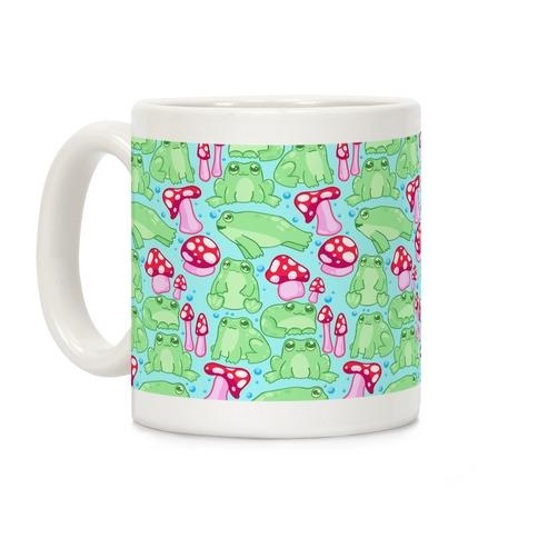 Frogs and Fungus Pattern Coffee Mug