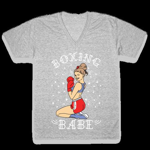Boxing Babe V-Neck Tee Shirt