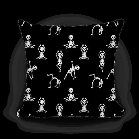 Skele-Zen Pattern - Black Pillow