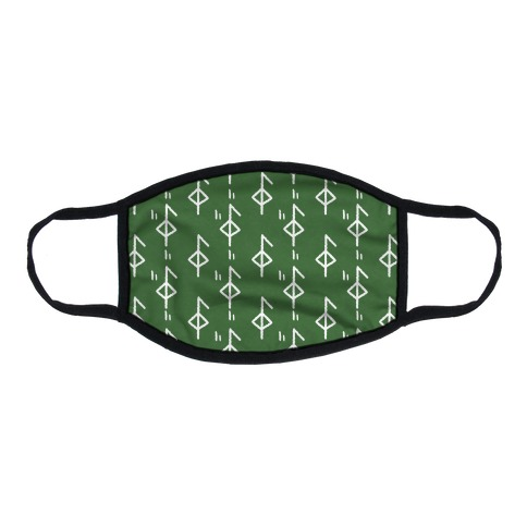 Health Rune Pattern Green Flat Face Mask