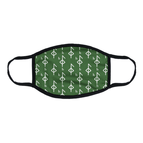 Health Rune Pattern Green Flat Face Mask