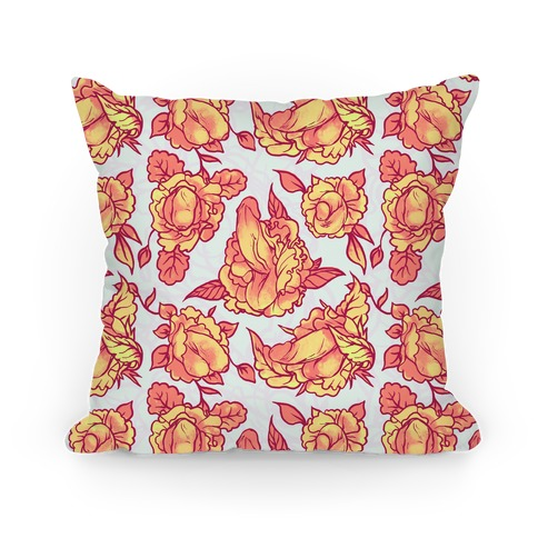 Floral Penis Pattern Orange Pillow