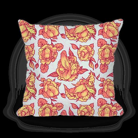 Floral Penis Pattern Orange Pillow