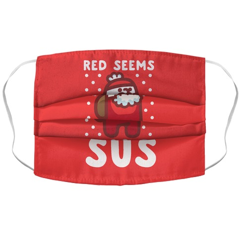 Red Seems Sus Santa Parody Accordion Face Mask
