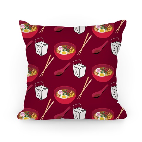 Ramen Take Out Pattern Pillow