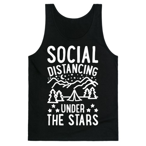 Social Distancing Under The Stars White Print Tank Top