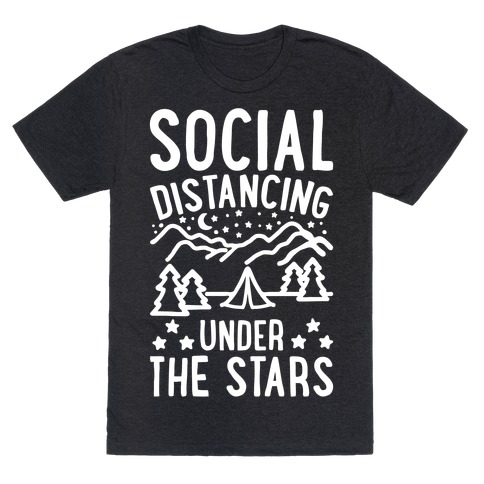 Social Distancing Under The Stars White Print T-Shirt