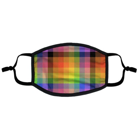 Pride Flag Plaid Flat Face Mask