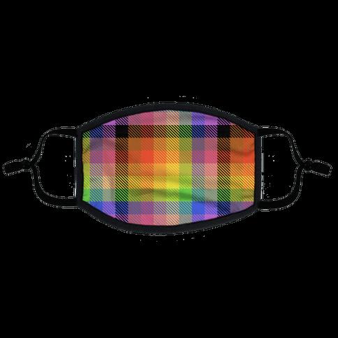 Pride Flag Plaid Flat Face Mask