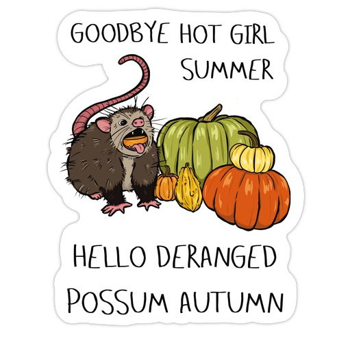 Goodbye Hot Girl Summer Hello Deranged Possum Autumn Die Cut Sticker