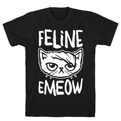 Feline Emeow White Print T-Shirt