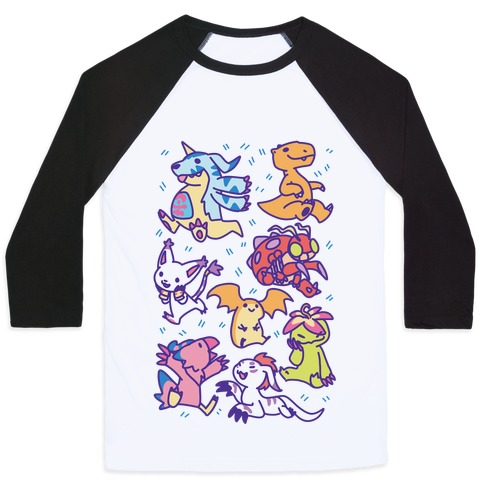 Digital Monsters Pattern Baseball Tee