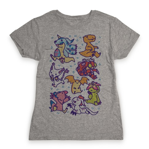 Digital Monsters Pattern Womens T-Shirt