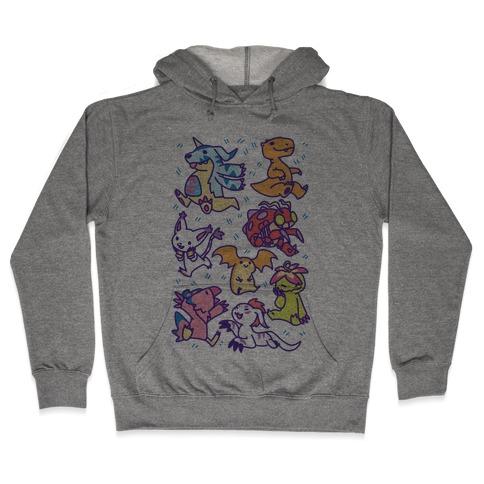 Digital Monsters Pattern Hooded Sweatshirt