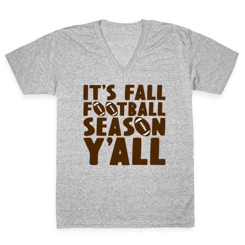 It's Fall Football Season Y'all V-Neck Tee Shirt
