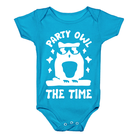 Party Owl The Time Baby Onesy