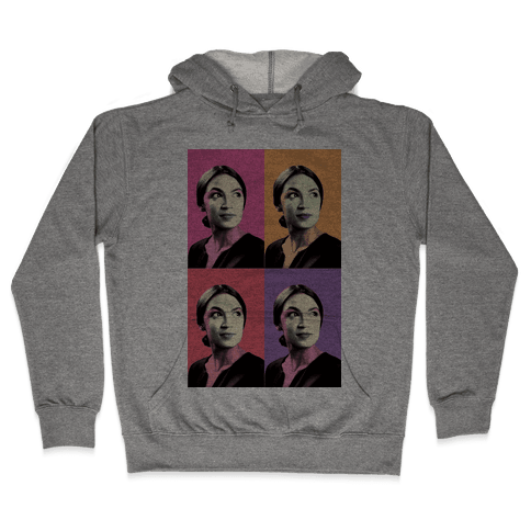 Alexandria Ocasio-Cortez Pop Art Parody Hooded Sweatshirt